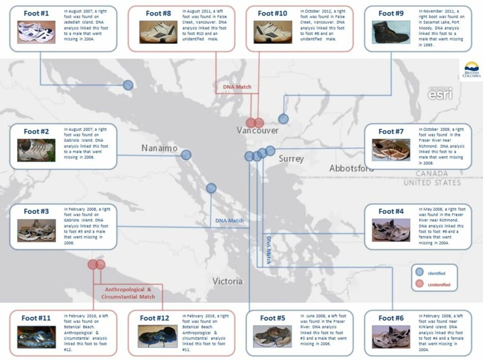 SAMME OMRÅDE: Kartgrafikken viser hvor tolv av føttene er funnet - alle, rundt Georgiastredet i British Columbia. Grafikk: Rettsmedisineren i British Columbia