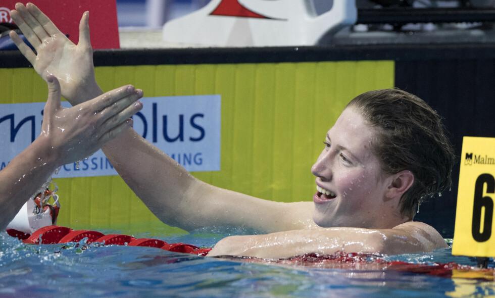 ANDRE MEDALJE: Henrik Christiansen tok sin andre EM-medalje i kveld. Her etter onsdagens bronseløp. Foto: Jessica Gow/TT / NTB scanpix