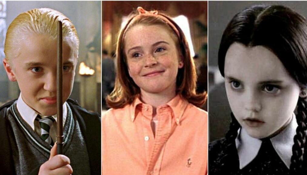 BARNESTJERNER: Vi elsket dem da, men hvordan går det egentlig med dem nå? FOTO: Harry Potter / The Parent Trap / The Addams Family