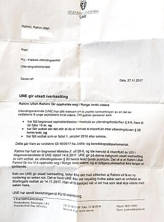 HÅPET PÅ PAPIR: Tre dager etter at Rahim Ullah Rahimi hadde frist til å reise fra Norge i år, fikk han dette brevet. Det viser at han kan være i Norge. Inntil videre.