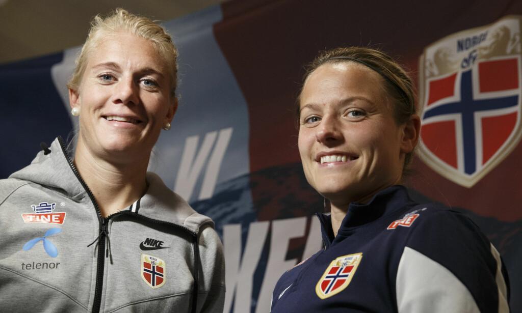 DUO: Norges fotballegender Solveig Gulbrandsen (t.v) og Trine Rønning (t.h) går sammen i arbeidet med toppspillerutviklingen i Kolbotn kvinnefotball. Her fra fotball-VM i Canada 2015. Foto: Berit Roald / NTB scanpix