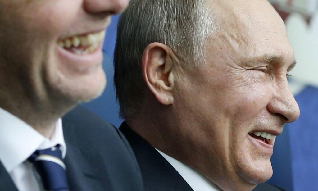 image: Fotballpresidenten vår er litt gravid mens FIFA-boss Infantino slikker Putin opp etter ryggen
