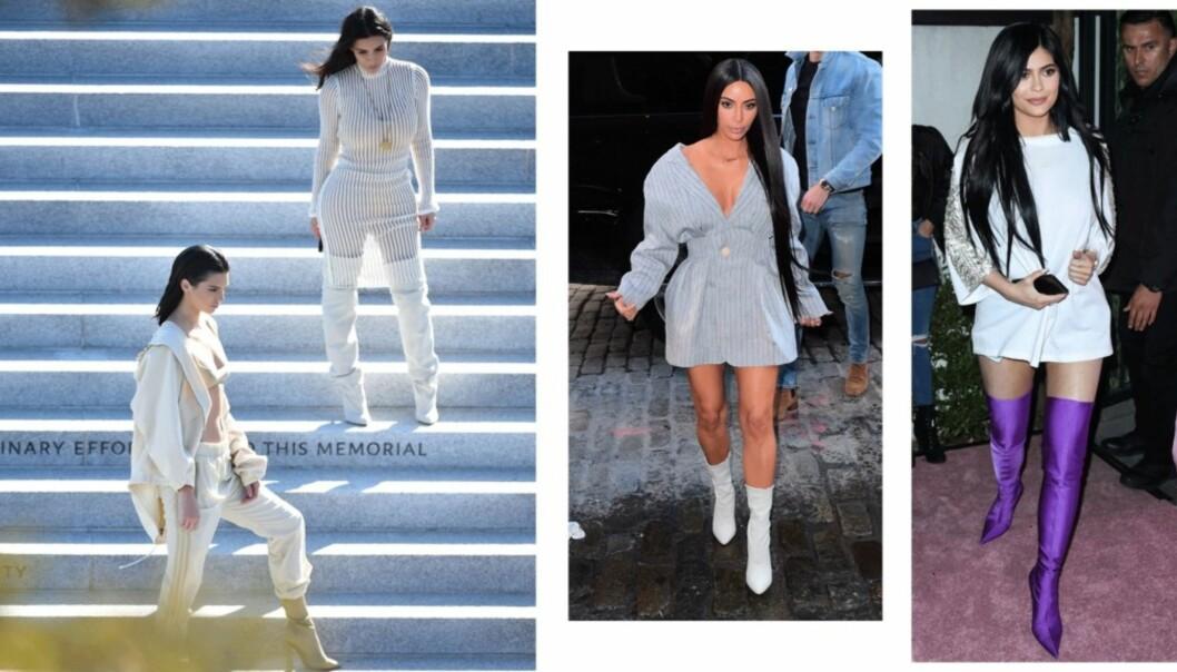 <strong>KARDASHIAN-KLANENS FAVORITT:</strong> Du har nok sett både Kendall, Kylie og Kim i sokkeskoene. Her er bare noen av antrekkene de har brukt trendskoene til. Foto: Scanpix