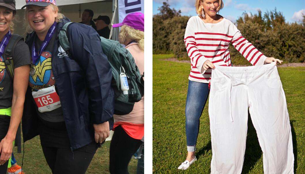FØR OG ETTER: Ifølge Fisers selv, har hun gått ned rundt 30 kg og 10 klesstørrelser etter at hun bestemte seg for å endre livsstil. Foto: privat.