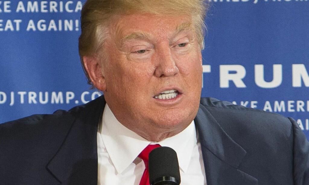 LANGER UT MOT PRESSEN: Donald Trump. Foto: Foto: Keiko Hiromi / Polaris / Scanpix