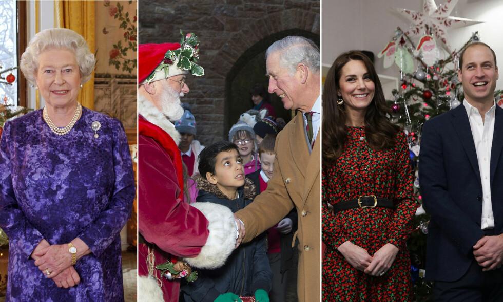 KONGELIG FEIRING: Den britiske kongefamilien pleier å samles på den kongelige Sandringham-eiendommen i Norfolk hver jul. Her er dronning Elizabeth, prins Charles og hertuginne Kate og prins William avbildet ved andre juleaktige anledninger. Foto: NTB Scanpix