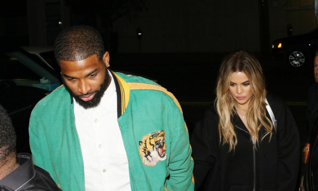 BLIR FORELDRE: Khloe Kardashian og Tristan Thompson kunne endelige dele nyheten om at de venter sitt første barn sammen. Foto: NTB Scanpix