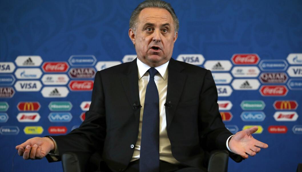 <strong>- FERDIG:</strong> Avisen Kommersant hevder at russiske Vitalij Mutko er ferdig både som president i det russiske fotballforbundet og som VM-sjef. Det etter press fra FIFA. Foto. NTB Scanpix