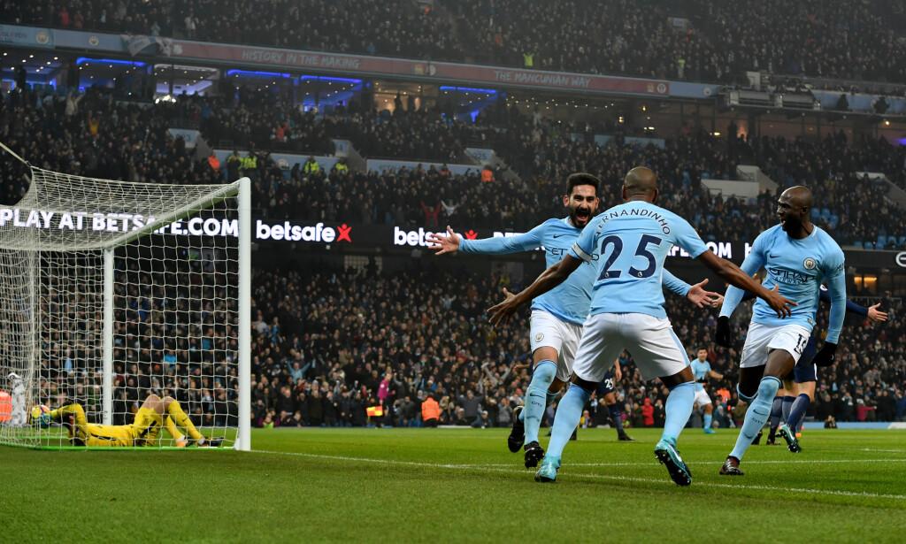 GRUNN TIL Å FEIRE: Manchester City har fått følelsen av å vinne flere ganger denne sesongen. Foto: NTB Scanpix