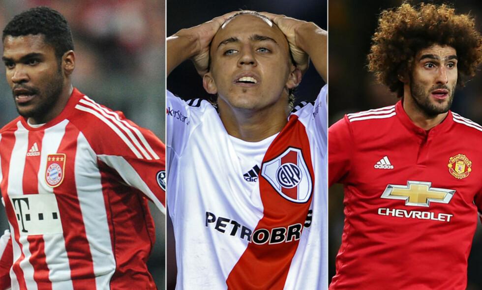 STORTALENTER: Breno (t.h.), Diego Buonanotte og Maroune Fellaini var alle på lista i 2007. Det har ikke gått like bra med alle tre. Foto: NTB Scanpix
