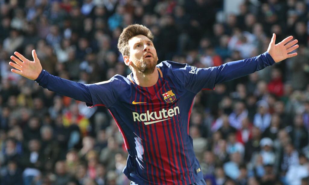TIDENES BEST BETALTE: Lionel Messi tjener i overkant av en millard kroner i året i sin nye kontrakt. Her har han akkurat satt inn 2-0 mot Real Madrid på Santiago Bernabeu i desember i fjor. Foto: REUTERS/Sergio Perez