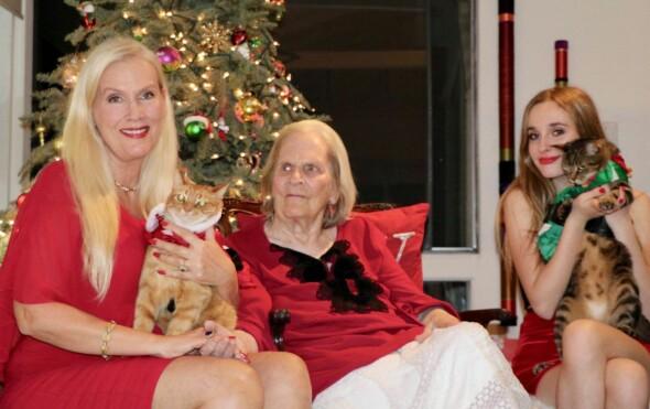 JULESTEMING: Gunilla Persson i full juleoppsats sammen med kattene Tusse og Lulle, dattera Erika Persson og mora Iris Persson. Foto: Privat
