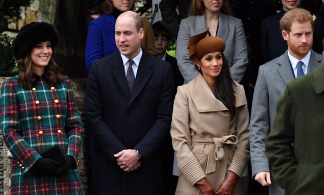 FEIRET JUL SAMMEN: Meghan Markle tilbrakte jula for første gang sammen med den britiske kongefamilien på Sandringham House. Foto: NTB Scanpix