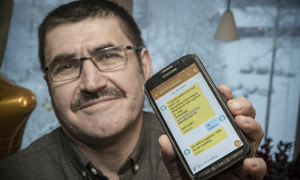 DYRT «OK»: Abdul Basir Amri (56) ble lokket av det som virket som en gunstig strøm-avtale. Nå slåss han for å unnslippe en omstridt avtale med strømleverandøren Kraft1. Foto: Hans Arne Vedlog / Dagbladet