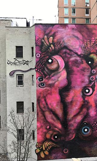 ABSTRAKT VAGINA: «With my pussy vison I see through your talk» er søsterbildet og fra en annen vegg litt lenger øst i New York - også malt av Carolina Falkholt. Foto: NTB scanpix