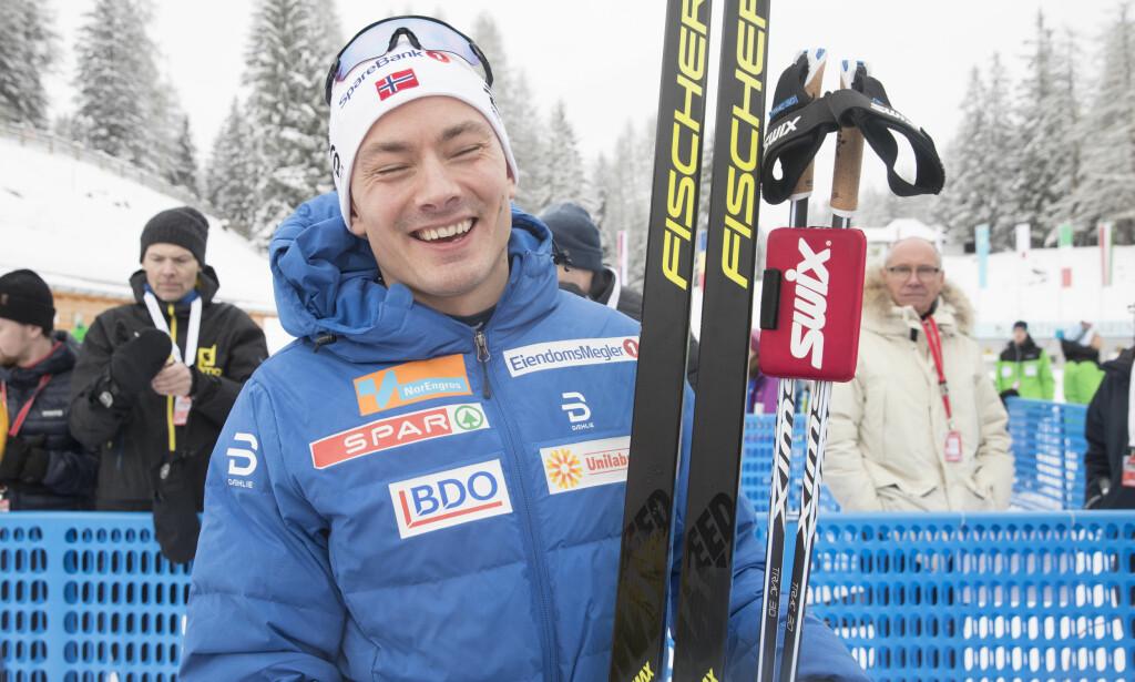 ALL GRUNN TIL Å SMILE: Finn Hågen Krogh er tilbake i form etter en vinter med overtrening. Foto: Terje Pedersen / NTB Scanpix