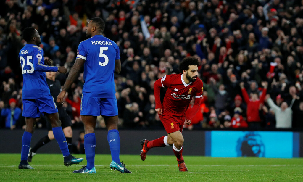 UTLIKNET: Mohamed Salah scoret sitt 16. og 17. mål for Liverpool i Premier League. Foto: Phil Noble / Reuters / NTB Scanpix