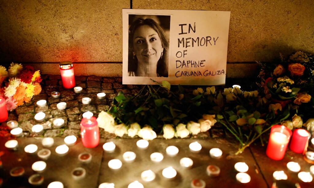 DREPT: Maltesiske Daphne Caruana Galizia var blant journalistene som ble drept i år. Foto: Axel Schmidt / Reuters / NTB