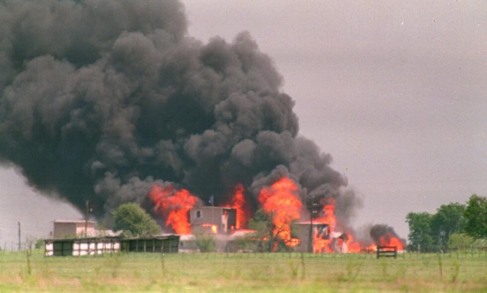 DØDELIG BRANN: 76 sektmedlemmer døde i den voldsomme brannen på gården utenfor Waco i Texas. Foto: AP Photo / Susan Weems / NTB scanpix