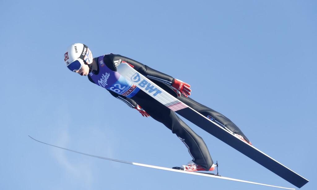 Garmisch-Partenkirchen, Tyskland 20171231. Johann Andre Forfang under lørdagen trening før kvalifiseringen til nyttårs hopprennet i hoppuka. Foto: Terje Bendiksby / NTB scanpix