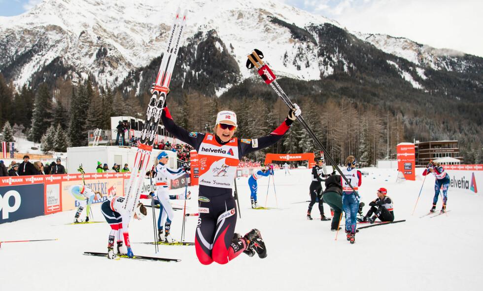 VANT IGJEN: Ingvild Flugstad Østberg vant sin andre etappe i den tolvte utgaven av Tour de Ski. Hun leder i sammendraget foran Heidi Weng. Foto: Bildbyrån