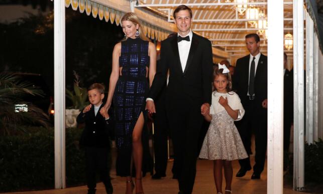 FAMILIE: Ivanka Trump ankom sammen med ektemannen Jared Kushner og sønnen Joseph og datteren Arabella. Foto: Reuters