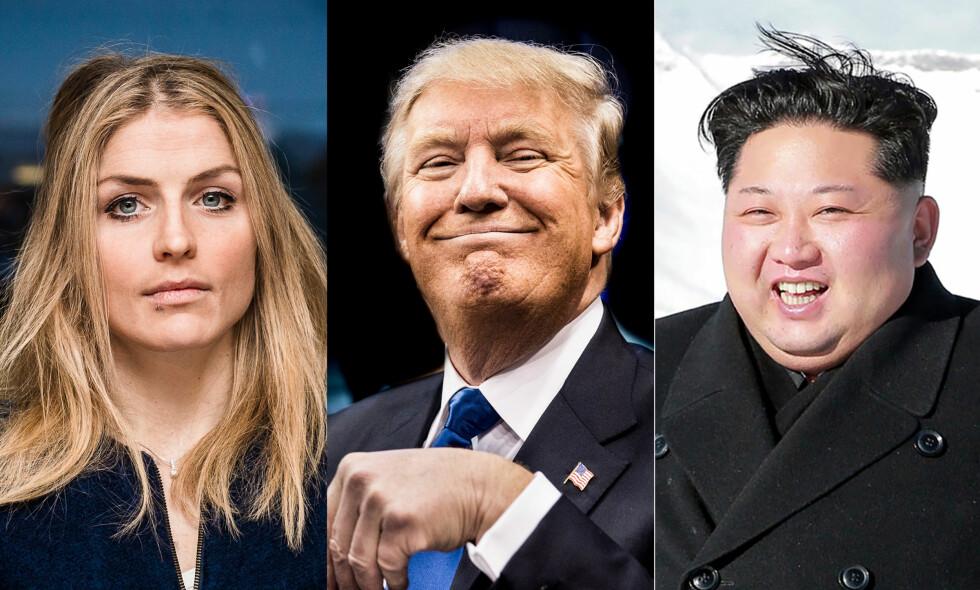 FÅR FRAM SKRIVEKLØEN: Therese Johaug, Donald Trump og Kim Jong-un har alle preget det norske nyhetsbildet i 2017. Foto: Lars Eivind Bones / NTB Scanpix