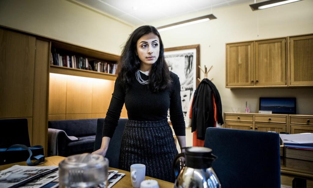 ADVARER: Ap-nestleder Hadia Tajik advarer mot økt privatisering og konkurranseutsetting som kan føre til en nedbygging av offentlig sektor. Foto: Christian Roth Christensen / Dagbladet