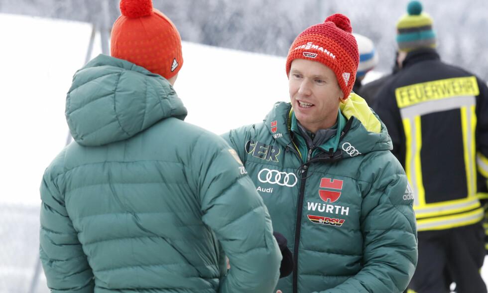 SUKSESS: Roar Ljøkelsøy er i trenerteamet til det tyske laget. Han har spesialansvar for Richard Freitag, som kjemper om sammenlagtseieren i Hoppuka. Foto: Terje Bendiksby / NTB Scanpix
