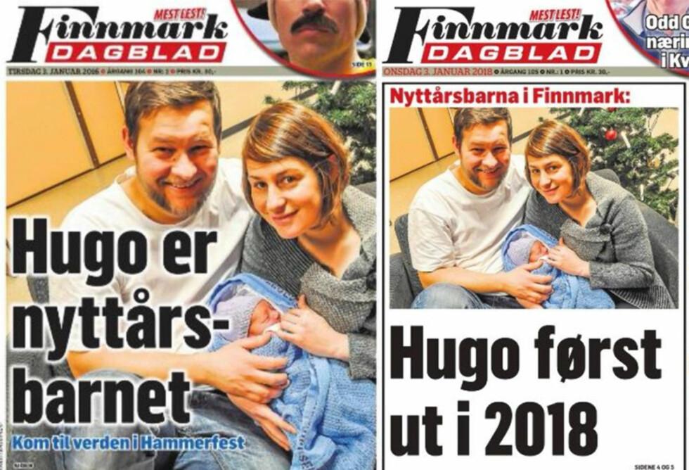 NYTTÅRSBARN: I to år på rad har Hugo Wantuch vært nyttårsbarnet i Finnmark Dagblad. Nyhetsredaktøren tar tabben på sin kappe. I fjor blingset avisa på datoen den 3. januar, og skrev 2016 i stedet for 2017. Foto: Faksimile med tillatelse fra Finnmark Dagblad