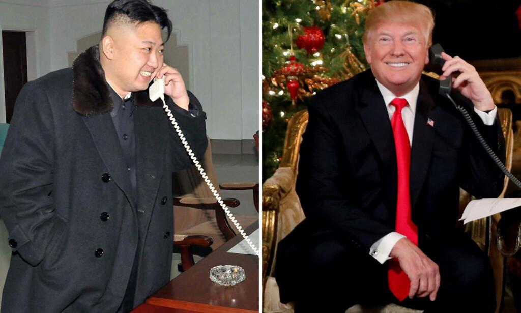 SLÅR TILBAKE: President Donald Trump slår tilbake mot Kim Jong-un, etter at sistnevnte sa at atomknappen står på skrivebordet. Nå frykter eksperter at Trump kan ødelegge for en ny dialog mellom Nord- og Sør-Korea. Foto: KCNA / Carlos Barria / Reuters / NTB Scanpix