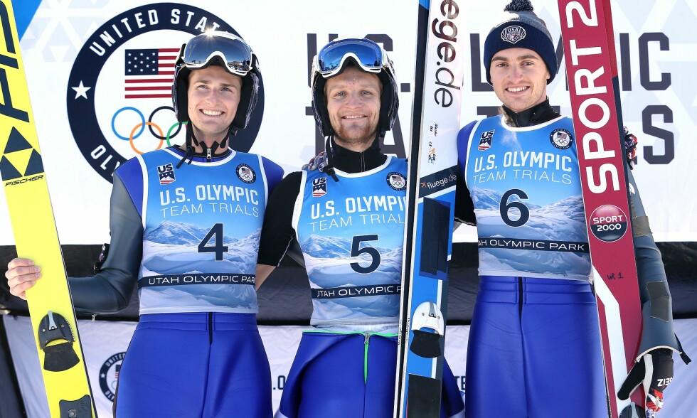 UHELDIGE: Michael Glasder, Kevin Bickner og William Rhoads var de tre beste i det amerikanske OL-uttaket. Men til Innsbruck kom de aldri. Bildet er tatt på nyttårsaften. Foto: NTB scanpix