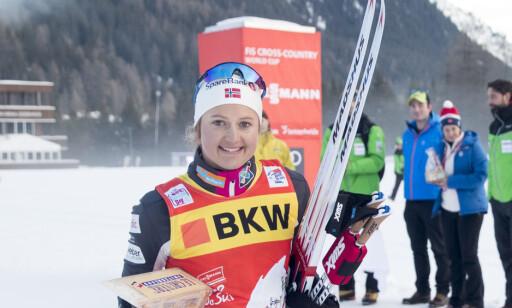 ØKER: Ingvild Flugstad Østberg øker sammenlagtledelsen i Tour de Ski etter dagens etappe. Foto: Terje Pedersen / NTB scanpix