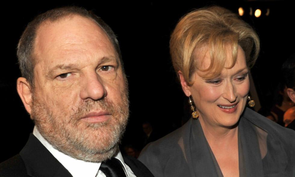DA DE VAR VENNER: Filmprodusent Harvey Weinstein og skuespiller Meryl Streep i 2012, da de fremdeles var venner. Nå raser hun mot at Weinsteins advokater bruker hennes og andre Hollywood-kvinners uttalelser til fordel for Weinstein i håp om å få avvvist en rettssak mot ham. Foto: NTB scanpix