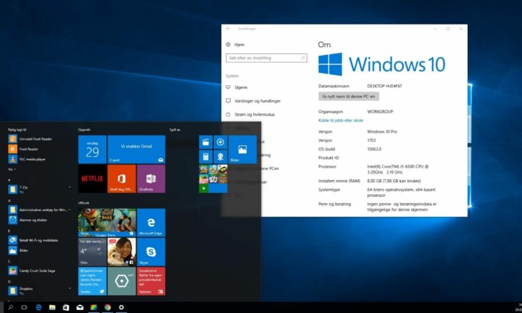 IKKE TREGERE: Microsoft har nå oppdatert Windows 10 for å sikre brukerne. Så langt ser det ikke ut til at maskinene går vesentlig saktere. Skjermdump: Dinside