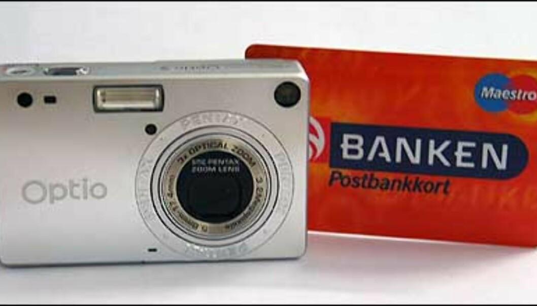 Kameraet dekkes fullstendig bak et vanlig bankkort.