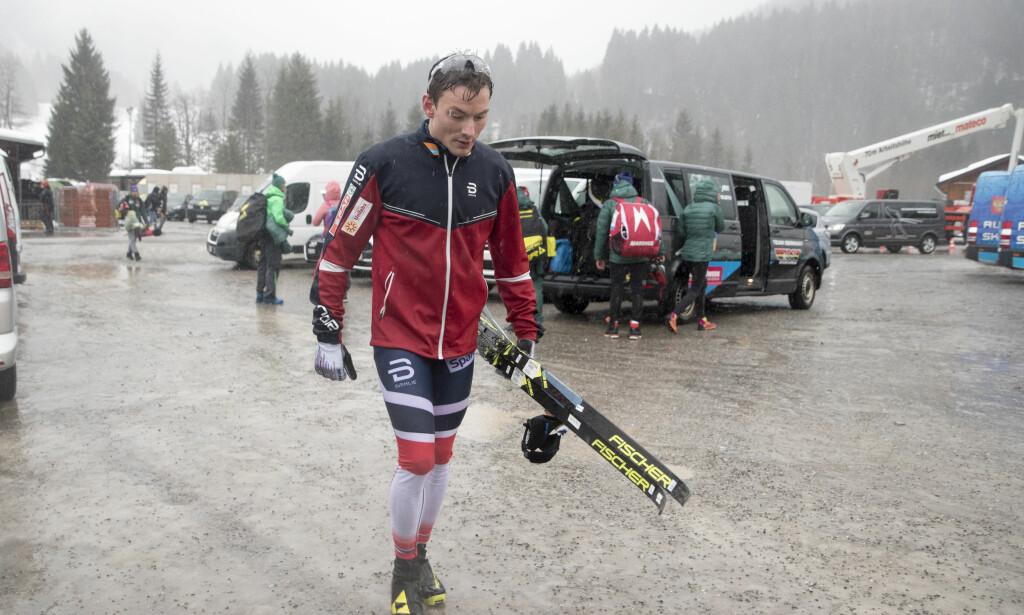 HJEM: Finn-Hågen Krogh bryter Tour de Ski og reiser hjem til Norge for å forberede seg til NM og kommende renn. Det samme gjør fire andre norske langrennsløpere. Foto: Terje Pedersen / NTB scanpix