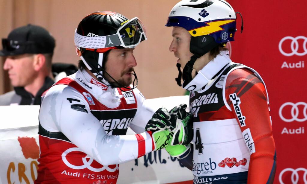 RIVALER: Marcel Hirscher er Henrik Kristoffersens nemesis. Seieren har uteblitt for nordmannen denne sesongen. Foto: GEPA/Bildbyrån
