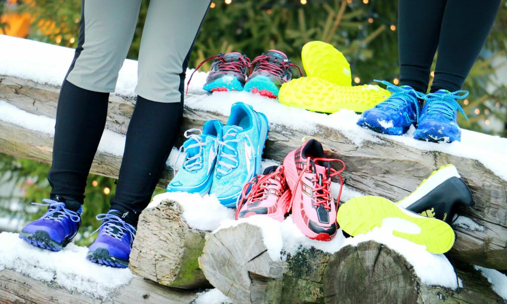 TEST AV JOGGESKO: Sju par joggesko er satt på prøve på vinterføre. Det ene paret utmerket seg klart som testvinner. Foto: Ole Petter Baugerød Stokke