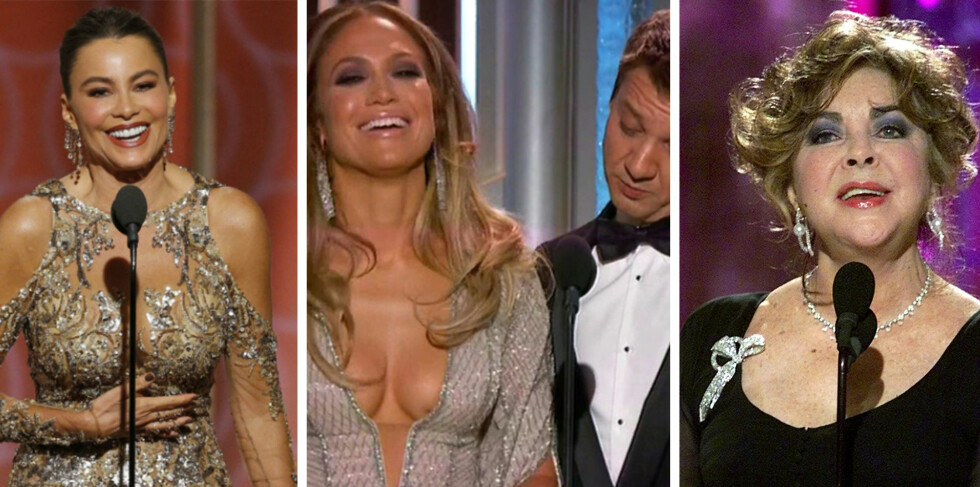 SKANDALESHOW: Golden Globe er kjent for flere av de mest minneverdige øyeblikkene. Sofia Vergara, Jennifer Lopez og Jeremy Renner og Elizabeth Taylor er bare noen av dem. Foto: NTB Scanpix