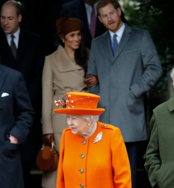 FØRSTE GANG: Første juledag var første gang Meghan Markle og dronning Elizabeth viste seg offentlig sammen. Foto: NTB Scanpix