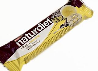 Naturdiet choco banana koster 32,50 og har 210 gram.