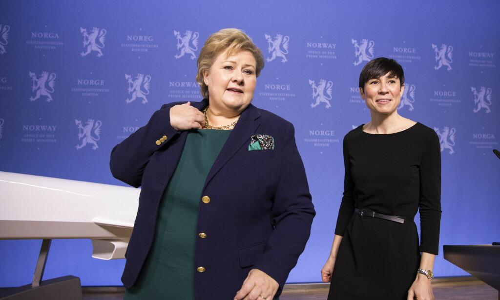 PÅ BESØK: Statsminister Erna Solberg (H) og utenriksminister Ine Eriksen Søreide (H) møter et veritabelt topplag av amerikanske politikere under USA-besøket denne uka. Foto: Gorm Kallestad / NTB scanpix