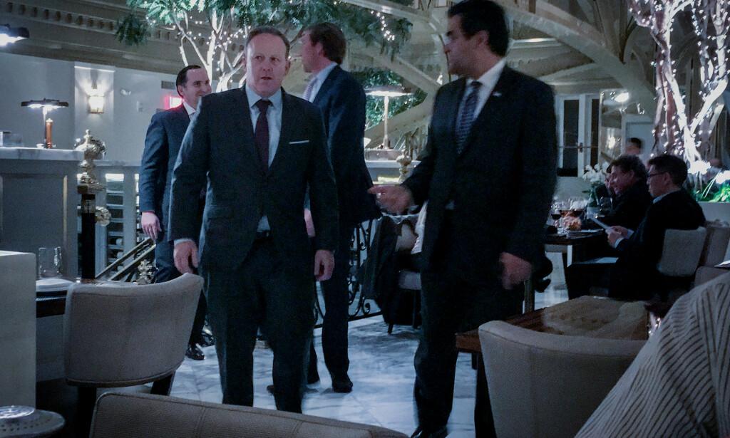 HOTELLGJEST: Tidligere pressetalsmann i Det hvite hus, Sean Spicer, dukket opp i restauranten. Foto: Øistein Norum Monsen/Dagbladet.