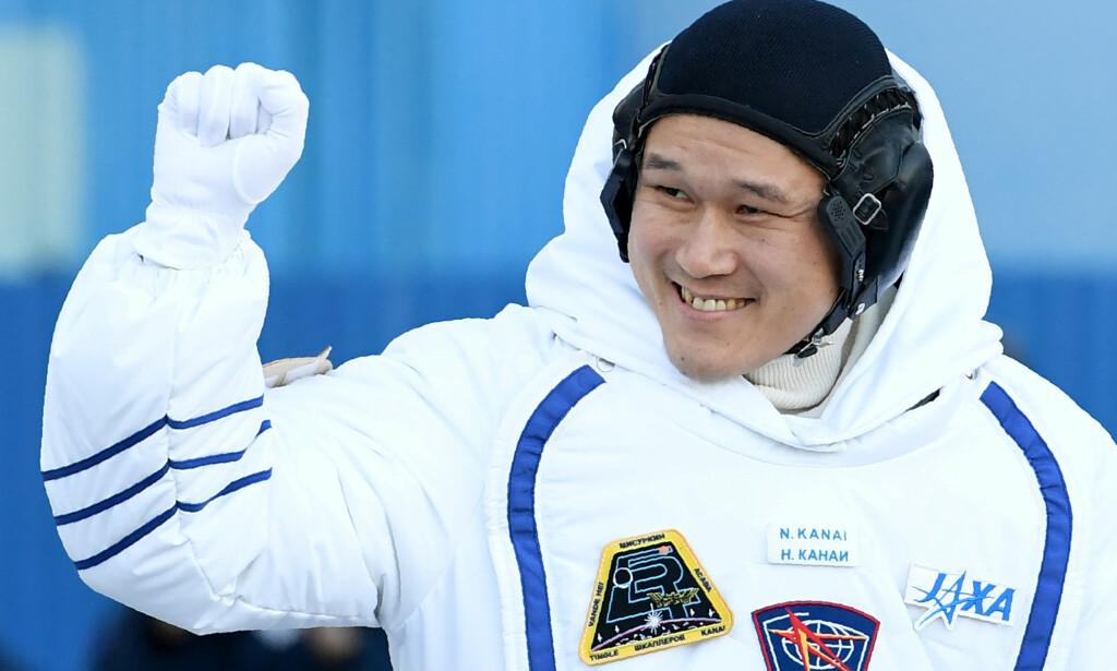 FORUNDRET: Den japanske astronauten Norishige Kanai trodde han hadde vokst hele 9 centimeter etter tre uker i rommet. Her er han fotografert ved avreise til Den internasjonale romstasjonen (ISS) med romfartøyet Soyuz MS-07 i Kazakhstan, 17 desember 2017. Foto: Scanpix