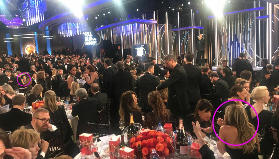 PÅ HVER SIN KANT: Angelina Jolie og Jennifer Aniston ble plassert langt borte fra hverandre under årets Golden Globe, som gikk av stabelen natt til mandag, norsk tid. Foto: NTB Scanpix