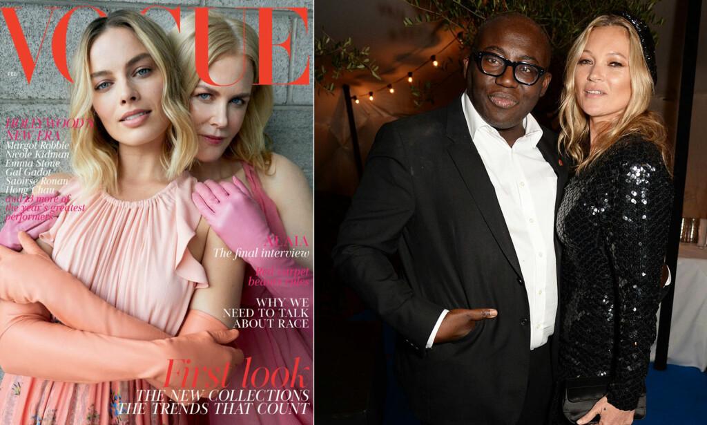 FÅR KRITIKK: Det er denne forsiden på Vogues kommende nummer som får leserne til å reagere. Til høyre er redaktøren for britiske Vogue, Edward Enninful, avbildet sammen med modellikonet Kate Moss. Foto: Faksimile fra Vogue/ NTB Scanpix.