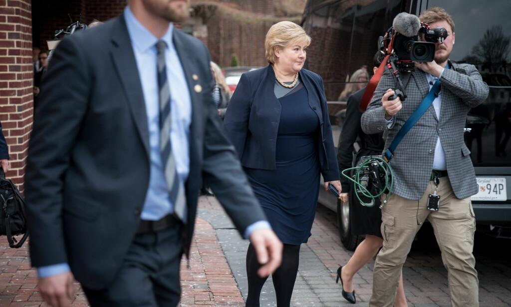 KLAR: Statsminister Erna Solberg før møtet med USAs president Donald Trump i Washington D.C. Foto: Øistein Norum Monsen/Dagbladet
