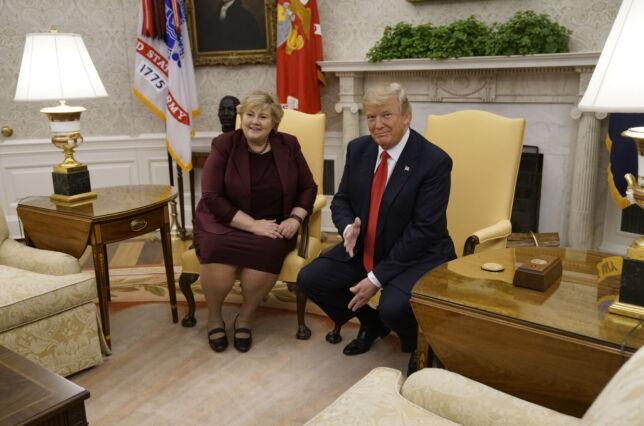 image: Trump spøkte med Erna: - Du må reise tilbake og sjekke dette med folkene dine