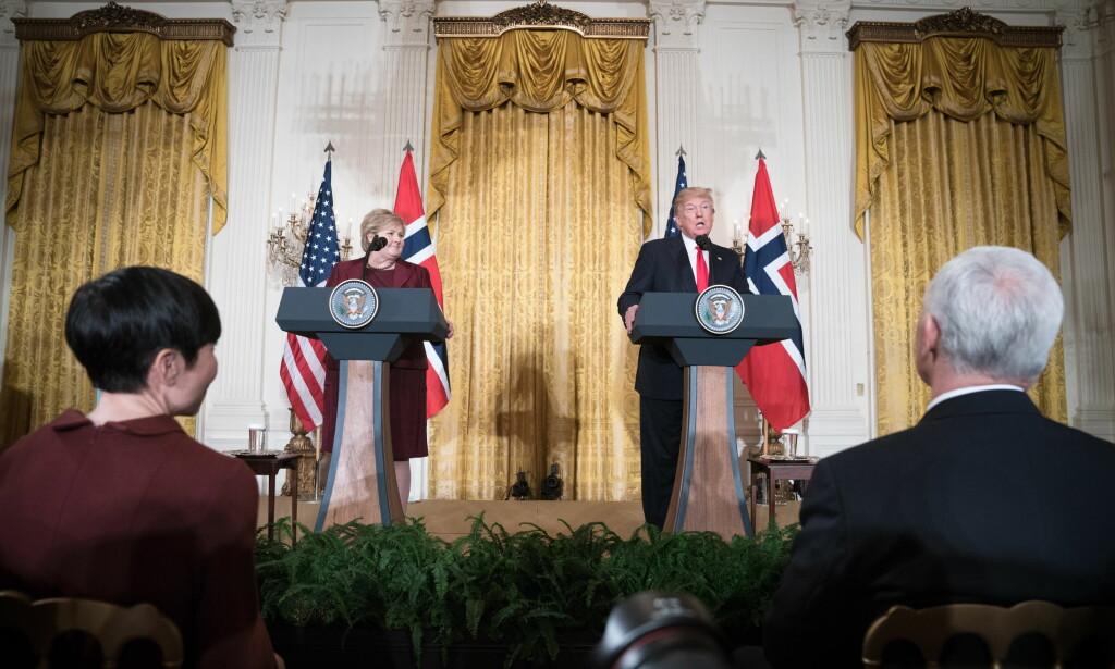 GOD TONE: Erna Solberg og Donald Trump var positive til hverandre under kveldens møte. Foto: Øistein Norum Monsen / Dagbladet